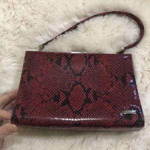 Nine West clutch red faux snake skin